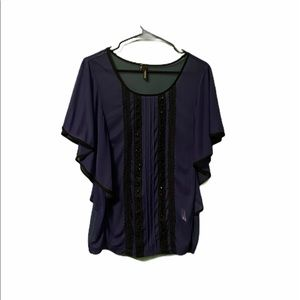 Maurices Sheer Lace Purple Short Sleeve Top